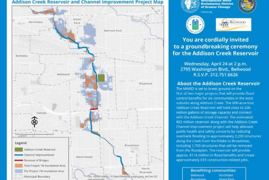 The Metropolitan Water Reclamation District of Greater Chicago to break ground on Addison Creek Reservoir to provide flood relief for surrounding communities