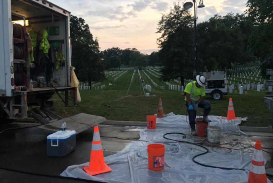 aboveground work at Arlington National Cemetery