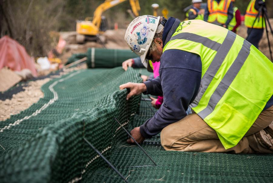 Highway Embankment Construction Uses Wrap-Face Vegetated Wall System