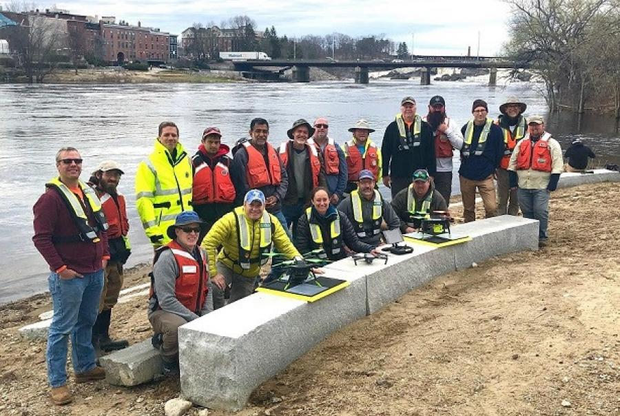 Photo of 2019 Aquatic Airshow participants at Androscoggin River in Auburn, Maine, on May 1, 2019.  Courtesy of Mario Martin-Alciati, U.S. Geological Survey.