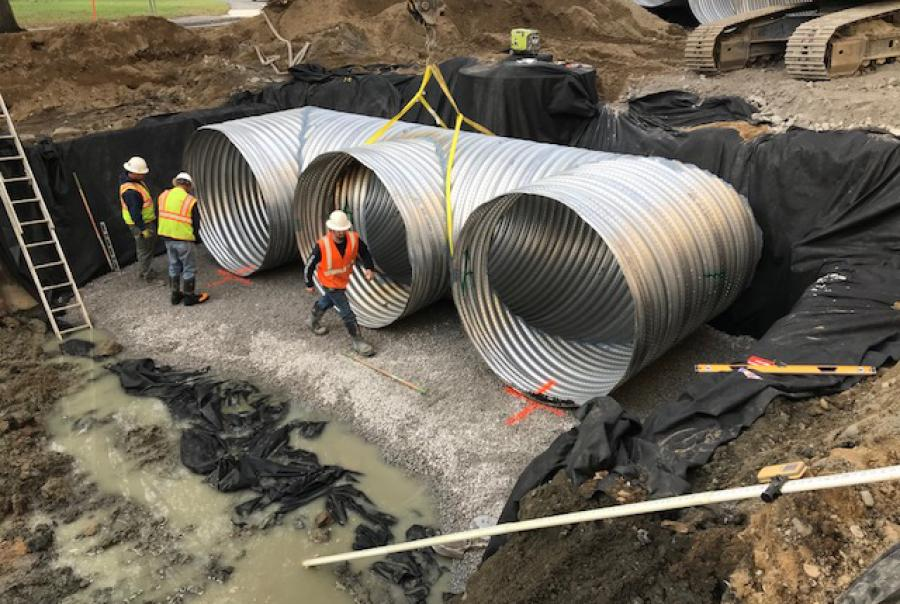 Large-diameter pipes provide large amount of storage
