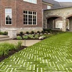 pavers that form a geometric grass print