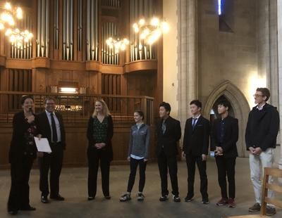 Chelsea Chen, Benjamin Straley, Renée Anne Louprette, Emily Amos, Bruce Xu, Reilly Xu, Eddie Zheng, and Justin Brueggeman (photo credit: Vaughn Mauren)