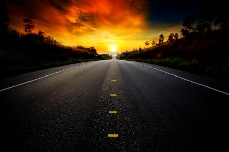 roadway and sunset