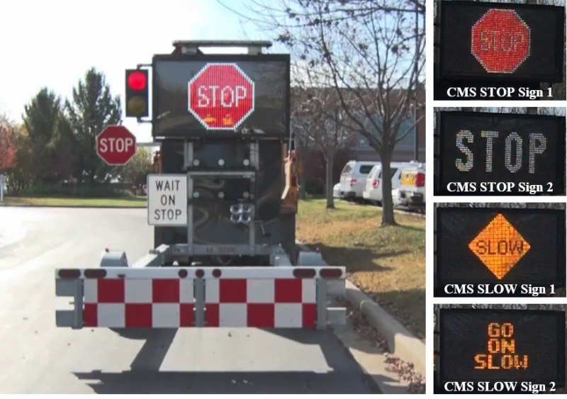 Figure 1. MoDOT AFAD and its CMS signs.