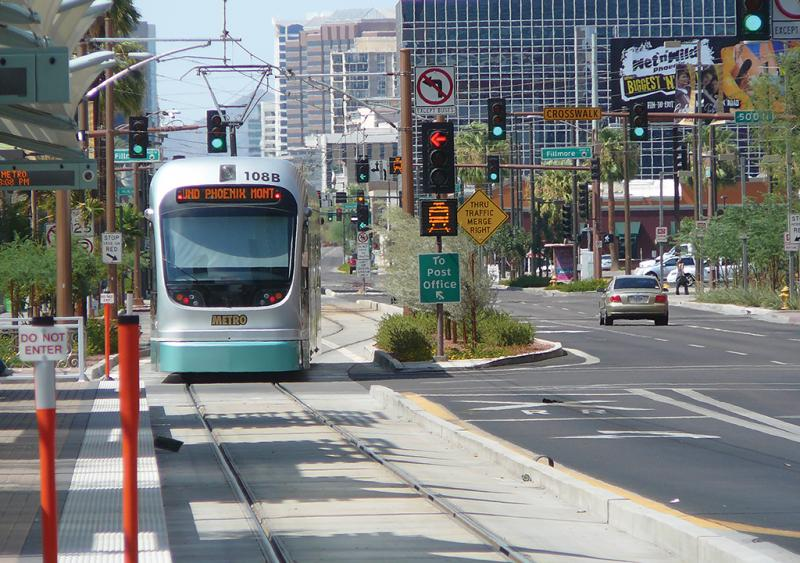 Light-rail vehicles operate in an exclusive right-of-way adjacent to vehicular traffic, except at intersections where they operate on shared right-of-way controlled by signals.