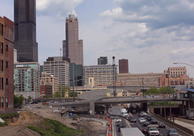 The Jane Byrne flyover will rise above the interchange and intersect with westbound I-290 just past Halsted Street.