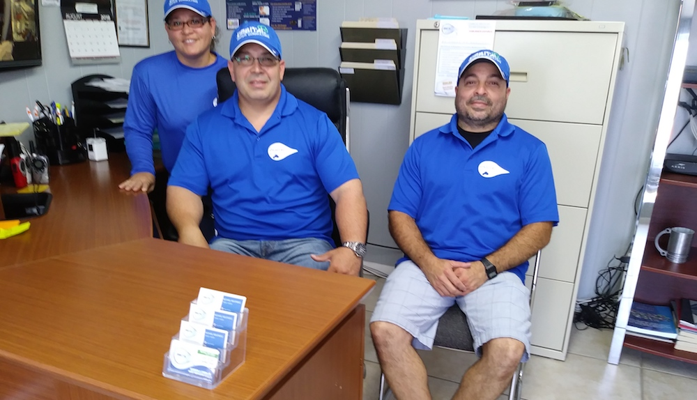 Orbital Water Consulting's staff consists of Melendez and his wife and brother. Pictured left to right: Jennifer Ramirez, Melendez, Omar Melendez