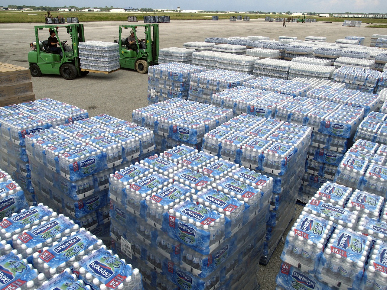Bottled water pallets discovered untouched post-Hurricane Maria