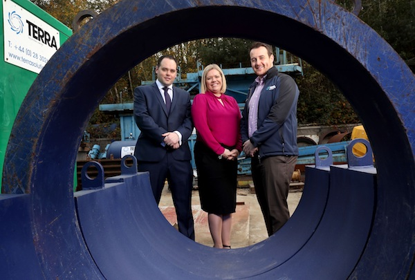 Pictured (L-R) are Declan Napier, Relationship Director at Lombard, Caroline McKeown, Business Manager, Commercial Banking NI at Ulster Bank and Andrew Lambe, Contracts Manager at Terra Solutions.
