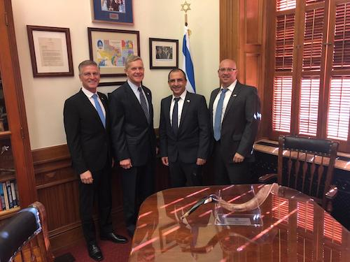 Left to right: James Perry (VP of Business Development, Utilis), Texas State Representative Phil King, Elly Perets (CEO, Utilis), and Gadi Kovarsky (Director National Accounts, Utilis).