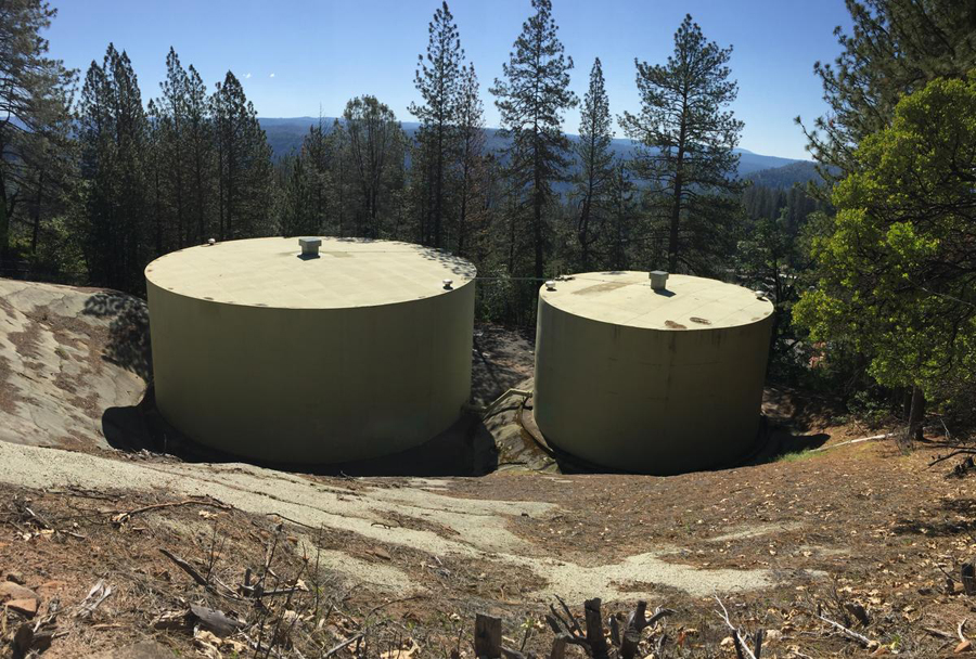 A pair of welded steel tanks make up the clear well for the Colfax water system