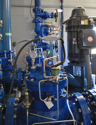 high service 12-in. booster pump control valves and 6-in. surge control valve
