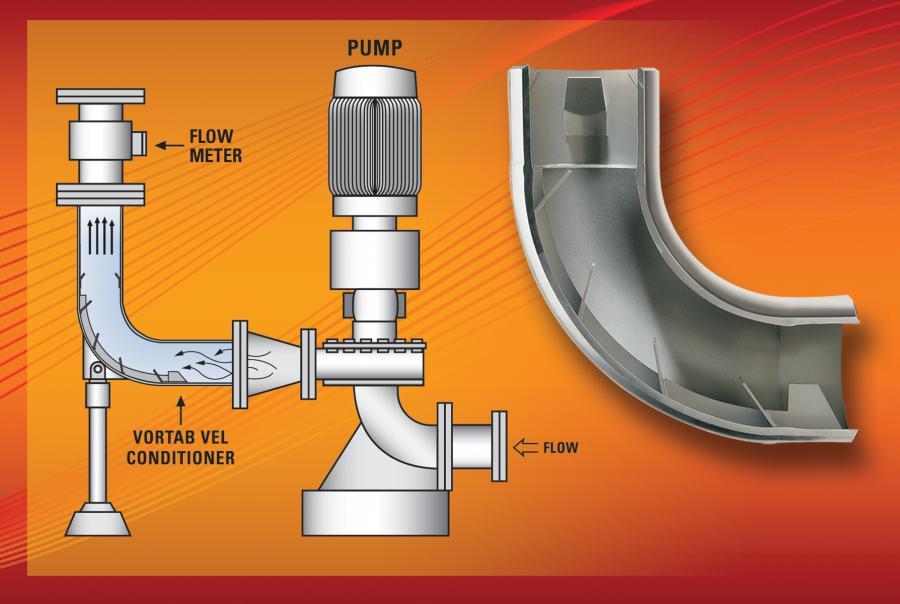 Vortab Co.'s Elbow Flow Conditioner removes asymmetric velocity profiles