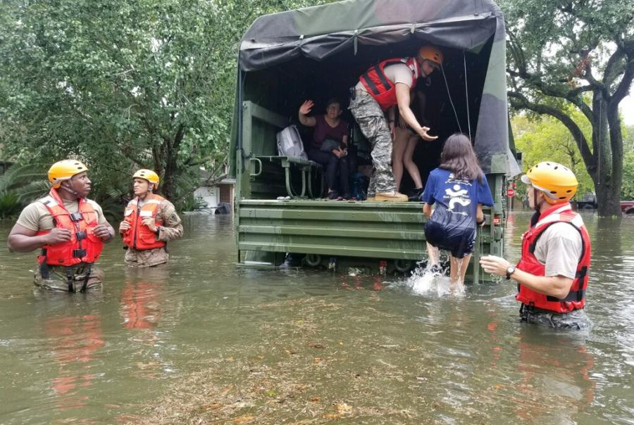 Hurricane Harvey rescue efforts continue in Houston with Texas National Guard.