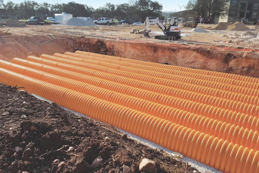 The completed storm water retention system has a volume of 2,255 cu ft.