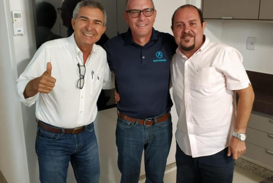 Atlantis Technologies CEO Patrick Curran (center) greets Antonio Torres, CEO (left) and Bene Torres, Water Business Manager (right) of Fortlev, Atlantis' new South American partner in distribution and manufacturing.