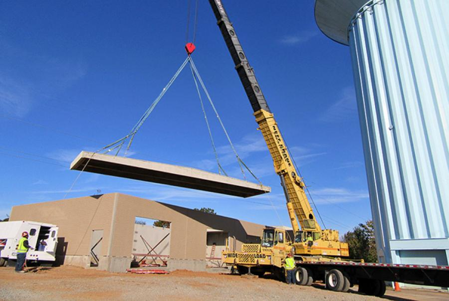 Eight Easi-Span all-precast concrete roof panels were erected in one day