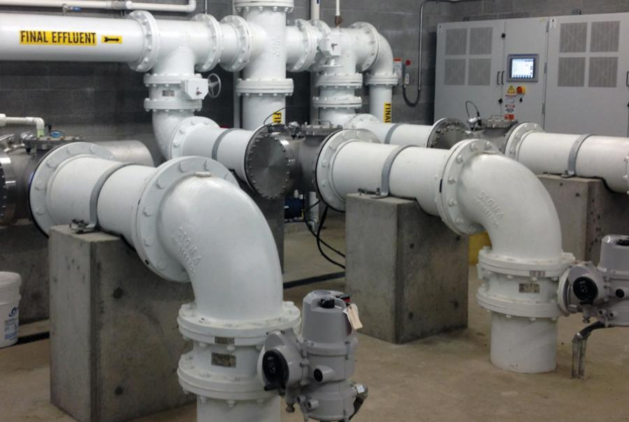 Three ETS-UV SW-835-14 units at a WWTP in Dundee, Ore.