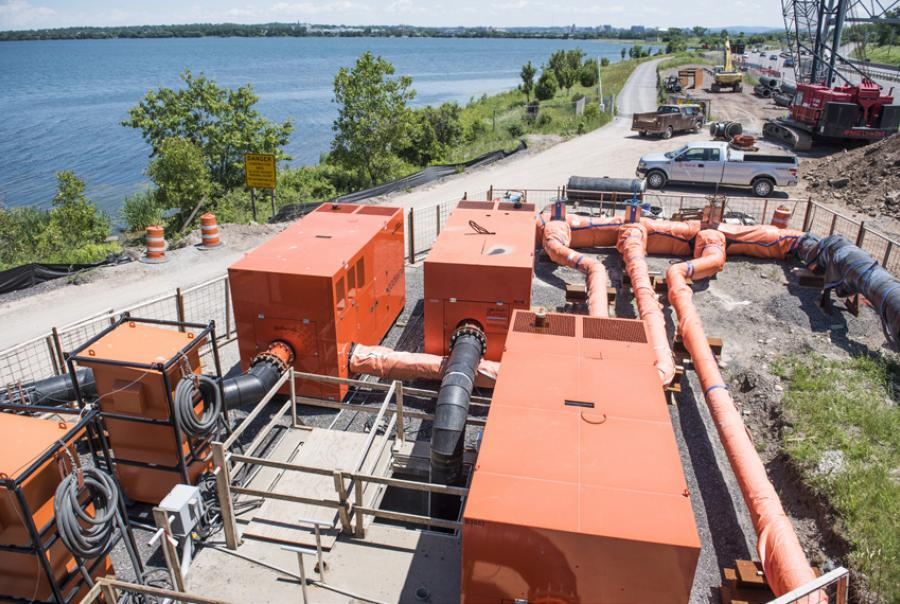 The complete Xylem solution—a 30-mgd bypass system—is shown here with the city of Syracuse, N.Y., in the background